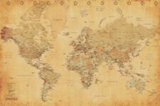 Vintage World Map Maxi Poster 91.5 x 61cm - Brand New - Educational