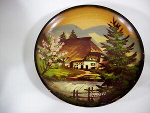 Pair Wood Plates Handpainted Black Forest Schwarzwalder Handarbeit Signed Wall