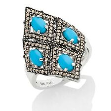 Rarities Sleeping Beauty Turquoise Diamond Sterling Silver Ring Size 9 Hsn $299