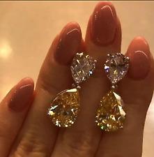4Ct Pear-Cut Yellow Diamond Drop/Dangle Stud Earrings 14k White Gold Over