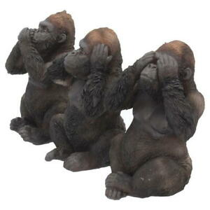 No Three Wise Gorilla Hear Evil Gorillas See Speak Statues Nemesis S Ornament