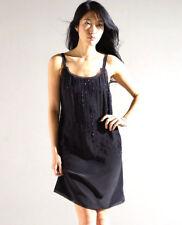 Eileen Fisher Beaded Silk Crepe De Chine Cami Dress, Black, Size 10, NWT