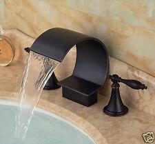 Black Color Dual Handles Bathtub Faucet Arc Waterfall Spout Sink Mixer Tap