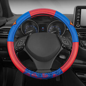 Superman Leather Steering Wheel Cover Universal Size for Car SUV 14.5-15.5