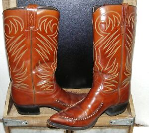 Western Leather Whip Stitch toe DAN POST 1940s Vintage COWBOY BOOTS Womens 6