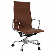eMod Eames Style Office Chair High Back Executive Replica Terracotta Tan Leather