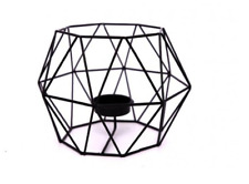 Black Geometric Cube Metal Wire Cage Contemporary Modern Tea Light Candle Holder
