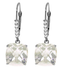 14k Solid Gold Lever Back Earrings With Natural White Topaz