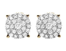 Ladies 10K Yellow Gold Genuine Diamond Round Cluster Studs Earrings 1.0CT 11.5MM