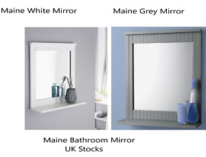 Maine White Grey Bathroom Mirror wood frame Wall Mounted Shelf Mirror