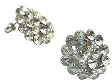 Silver Flower Clip on Stud Drop Earrings Pearl Crystal Diamante Dress Jewellery 1 - 2.5cm Dia