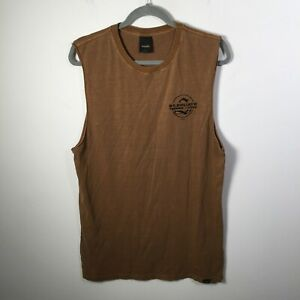 St Goliath mens Muscle tee singlet size M brown sleeveless graphic print