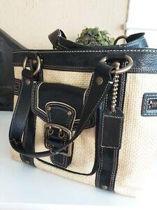 COACH  Legacy Natural Straw Black Leather Tote Shoulder Handbag L05K-113 EUC