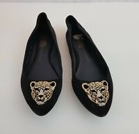 Rock and Republic Womens Size 6 Black Shoes Flats Gold Leopard Slip Ons Pointy