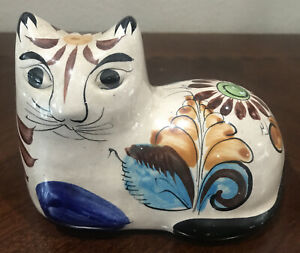 Mexican Tonala Cat Folk Art Pottery Hand Painted Signed CAT Vintage