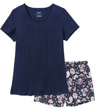 Damen Pyjama  Schlafanzug SUN9V Baumwolle Jersey Rundhals