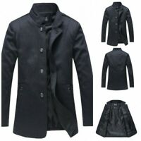 Mens Single Breasted Stand collar Long sleeve Jacket Trench Coat Outwear New D
