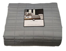 NEW HOTEL COLLECTION MODERN FRAME QUEEN QUILT COVERLET QUILTED QUEEN GRAY GREY