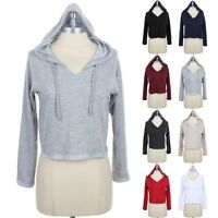 PULLOVER HOODIE Sweatshirts Long Sleeve Cropped Heathered Top Cotton S M L