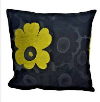 "X4 Black with Green Flower Detail Cushion Cover 18"" - Luxury Designer Poaletti"
