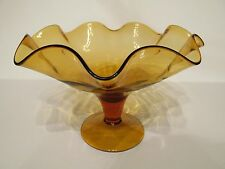 Beautiful Vintage Blenko Amber Art Glass Footed Ruffled Compote Centerpiece Bowl