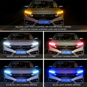 30/45/60CM Flexible Car Soft Tube Guide LED Strip Lamp DRL Daytime Running Light
