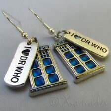 Doctor Who Tardis Police Box And I Heart DR WHO Stainless Steel Earrings