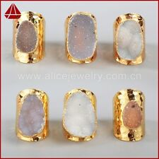 Similar 1Pcs Gold Plated Freeform Natural Agate Druzy Ring QG0935