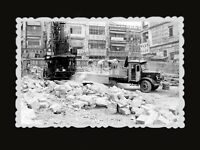 1940s Vintage Hong Kong Photo B&W Japanese Occupation Truck Building Bomb #534