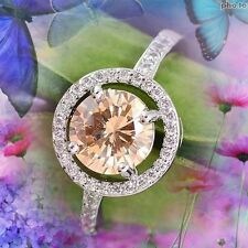 FAB ROUND CLUSTER MORGANITE & WHITE CUBIC ZIRCONIA SILVER RING SZ 7 - N
