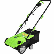 12Amp Corded Scarifier 13� Electric Lawn Dethatcher w/40L Collection Bag Green