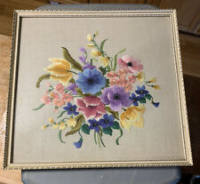 Vintage 14x14 Framed Floral Needlepoint Wall Hanging Picture Art 1967