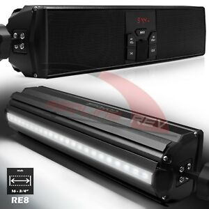 Waterproof Bluetooth Motorcycle Stereo LED Speaker Audio System USB AUX FM Radio