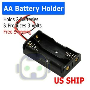 2X AA DIY Battery Holder Case Box Base 3V Volt PCB Mount With Bare Wire Ends