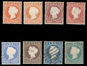 GAMBIA 1880 ½p-1sh VICTORIA WMK CROWN CC USED #5-11 5a both shades of ½p mint 3p
