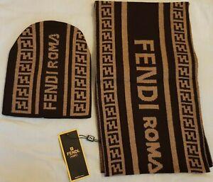 Fendi Hat & Scarf Set -Brown