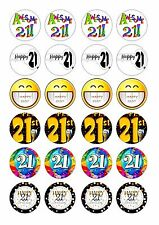 24 21ST FOR MENS  BIRTHDAY  CUPCAKE  WAFER RICE EDIBLE FAIRY CAKE TOPPERS