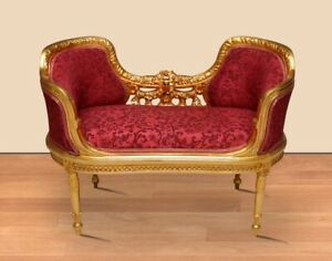 Small Louis XIV Settee Gold Frame Beautiful Red Fabric
