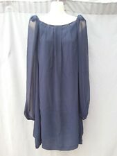 Topshop Blue Viscose Crepe balloon Sleeves pleated details Dress UK 14 VGC