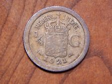 Netherlands (Dutch) East Indies 1921 1/4 Gulden nice Silver Coin!