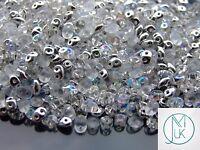 20g Czech SuperDuo Twin Beads Silver Mix