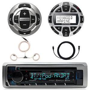 Kenwood Marine Single DIN CD Bluetooth UBS AUX Receiver, 2x Remotes, Accessories