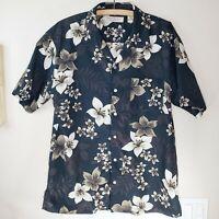 Island Republic Hawaiian Men's Casual Button Shirt Black with Cream Flowers Sz L