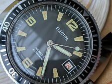 Near NOS Vintage Electra Diver w/Patina,All SS Case,Roulette Date Wheel,ETA 2472