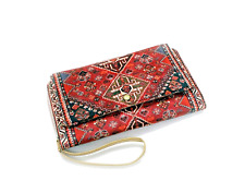 Women's Clutch Velvet Leather Bag Wristlet Handbag Wallet Strap Carpet Evening