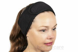 Black waffle weave cotton towelling toweling headband with secure fastening