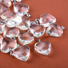 4 Glass Heart Pendants Dandelion Charms Seed Puff Heart Silver Clear 36mm