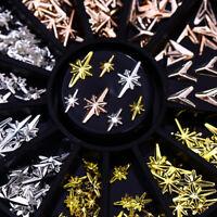 Rose Gold Metal Rivet Nail Studs 3D Nail Art Decoration in Wheel V-shaped Arrow