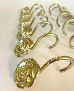 Set of 12 Gold Tone Rose Flower Shower Curtain Hooks