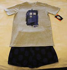 Doctor Who Mens Tardis Grey Blue Printed Cotton Pyjama Set Size XXL New